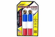 Esi paire de grips chunky silicone bleu blanc rouge 32mm