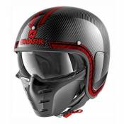 Casque jet Shark S-DRAK VINTA carbone/chrome/rouge- M