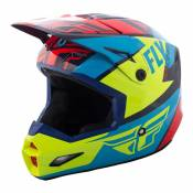 Casque cross Fly Racing Elite Guild rouge/bleu/jaune fluo - L