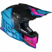 Casque cross Just1 J12 Unit bleu / rose / carbone mat- S