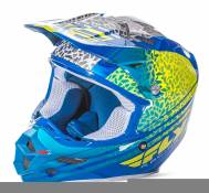 Casque cross Fly Racing F2 Carbon Animal jaune/bleu/blanc - L
