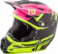 Casque cross Fly Racing F2 Carbon Forge rose/jaune/noir - M