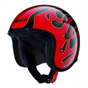 Casque jet Caberg JET FREERIDE FLAME noir/rouge - XL