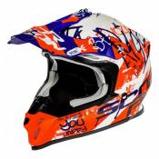 Casque cross Scorpion VX-16 Air Oration blanc/bleu/rouge mat- S