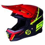 Casque cross Shot FURIOUS STORM - LIME RED MATT 2021