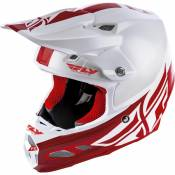 Casque cross Fly Racing F2 MIPS Shield blanc/rouge- L