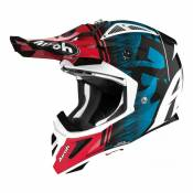 Casque cross Airoh Aviator Ace Kybon bleu/rouge brillant- M