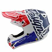 Casque cross TroyLee design SE4 POLYACRYLITE YOUTH - FACTORY - WHITE BLUE 2020