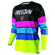 Maillot cross Shot by Freegun DEVO STRIPE - NEON YELLOW BLUE PINK 2021