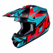 Casque cross HJC CS-MX II Madax bleu turquoise/orange - L