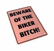 Plaque de parking Beware of the biker bitch