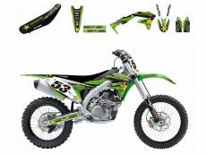 Kit déco + Housse de selle Blackbird Rockstar Energy Kawasaki 450 KX-F