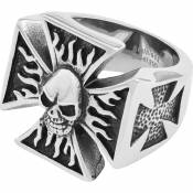 Spirit Motors Stainless Steel Iron Cross&skull 22 mm Silver