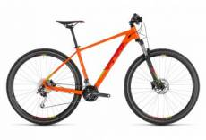Vtt semi rigide cube analog 29 shimano alivio altus 9v orange rouge 2019 19 pouces 180 190 cm